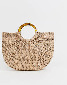 South Beach Exclusive half moon straw bag with tor