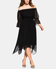 City Chic Trendy Plus Size Reflections Off-The-Sho
