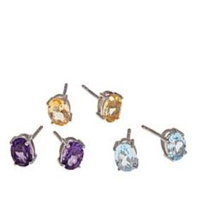 Colleen Lopez Set of 3 Oval Gemstone Sterling Silv