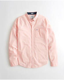 Hollister Stretch Oxford Shirt, LIGHT PINK