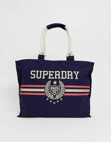 Superdry canvas tote bag with crest logo