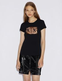 Armani T-SHIRT WITH SEQUINS AND LOGO