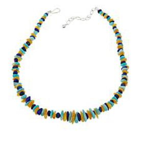 """Jay King Lapis, Amber and Amazonite Bead 18"""" Sterl"""