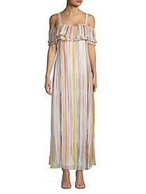 Cupio Striped Micro-Pleated Maxi Dress WHITE MULTI