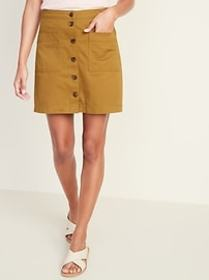 Button-Front Twill Patch-Pocket Mini for Women