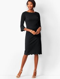 Talbots Refined Scallop-Edge Ponte Sheath Dress