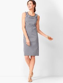 Talbots Pleat-Neck Sheath Dress - Gingham