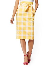 Plaid Tie-Waist Pencil Skirt - 7th Avenue - New Yo
