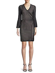 Nicole Miller Stripe Bell-Sleeve Sheath Dress BLAC