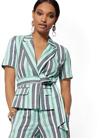 Belted Short-Sleeve Jacket - 7th Avenue - New York