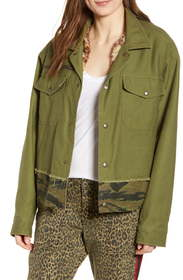 Pam & Gela Slouchy Army Jacket with Removable Faux