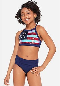 Justice American Flag Flip Sequin High Neck Bikini
