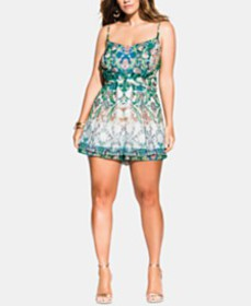 City Chic Trendy Plus Size Istanbul Printed Romper