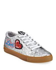 Love Moschino Glittered Love Lace-Up Sneakers