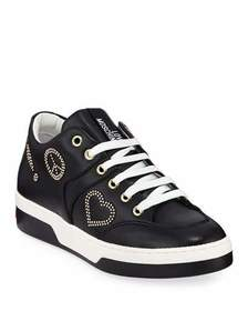 Love Moschino Scarpad Love Studded Lace-Up Sneaker