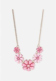 Justice Coral Flower Statement Necklace