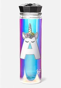 Justice Unicorn Initial Water Bottle