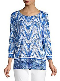 Joseph A A-Line Printed Tunic Sweater FREQUENCY