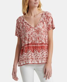 Lucky Brand Printed Tie-Neck Top