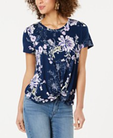 Style & Co Printed Knot-Front Top, Created for Mac
