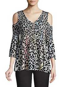 Spense Pleated Cold-Shoulder Top CHEETAH