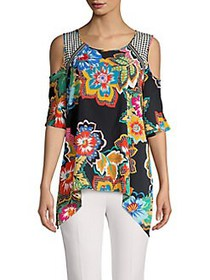 Spense Multi-Print Cold-Shoulder Sharkbite Top BLA