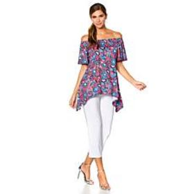 Slinky® Brand 2pc On/Off-Shoulder Tunic and Croppe