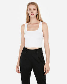 Express abbreviated square scoop neck tank