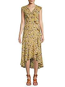 Max Studio Ruffled High-Low Floral Wrap Dress YELL