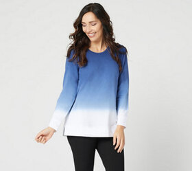 """""""As Is"""" Denim & Co. French Terry Dip Dye Long-Slee"""
