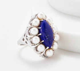 """""""As Is"""" Sterling Silver Lapis & Cultured Pearl Gem"""