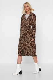 Nasty Gal Long Time Leopard Trench Coat