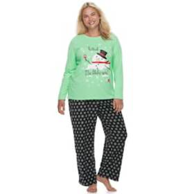 Plus Size Jammies For Your Families Snowman & Snow