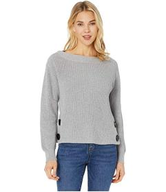 Vince Camuto Long Sleeve Boat Neck Button Side Swe