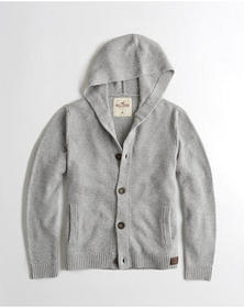 Hollister Hooded Shawl Cardigan, GREY