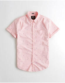Hollister Short-Sleeve Stretch Poplin Shirt, PINK