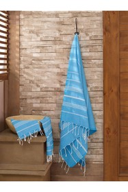 WALLITY Sultan 2-Piece Towel Set - Light Blue
