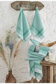 WALLITY Ekose Wash Towel - Set of 10 - Green