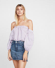Express striped off the shoulder balloon sleeve bl