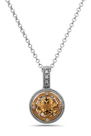 TARA Pearls Two-Tone Diamond & Citrine Pendant Nec