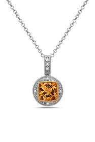 TARA Pearls Two-Tone Citrine & Diamond Pendant Nec