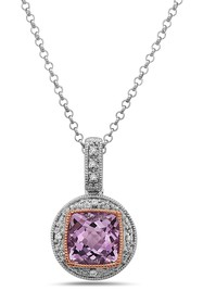 TARA Pearls Two-Tone Amethyst & Diamond Pendant Ne