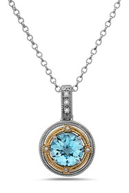 TARA Pearls Two-Tone Diamond & Blue Topaz Pendant