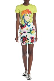 LOVE Moschino Gonna Tubino Pixel Floral Skirt