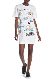 LOVE Moschino Abito Felpa Stampa Map Dress