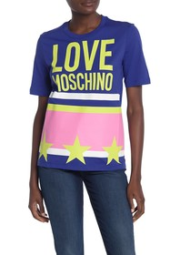 LOVE Moschino Logo Stelle Righe Stelle T-Shirt