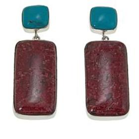 Jay King Turquoise and Pink Thulite Drop Sterling