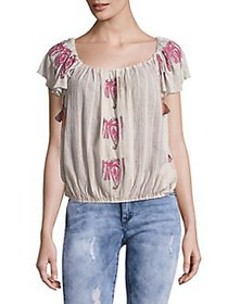 Free People Cap Sleeve Tassel Cotton Top SAND