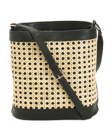 C&C CALIFORNIA Rattan Caning Bucket Bag Crossbody