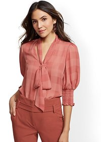 Pink Stripe Bow Blouse - 7th Avenue - New York & C